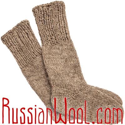 Носки высокие мужские/женские вязаные 100% овечья шерсть, серые