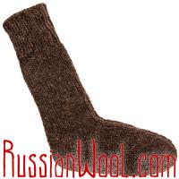 Носки высокие  мужские вязаные 100% овечья шерсть, темные
