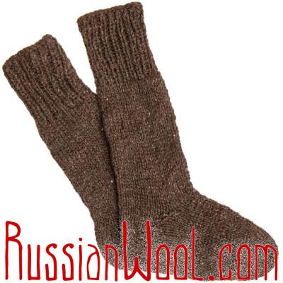 Носки высокие вязаные 100% овечья шерсть, темные