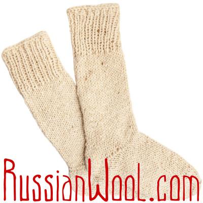 Носки высокие мужские вязаные 100% овечья шерсть, белые