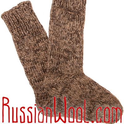 Носки высокие мужские/женские вязаные 100% шерсть: верблюжья, овечья и козий пух, тёмные