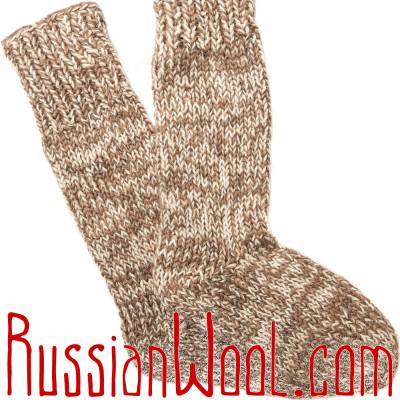 Носки высокие мужские вязаные 100% шерсть: верблюжья, овечья и козий пух, светлые