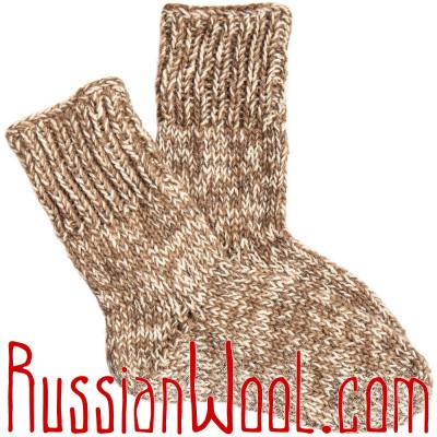 Носки Ruswool вязаные 100% шерсть: верблюжья, овечья и козий пух, светлые