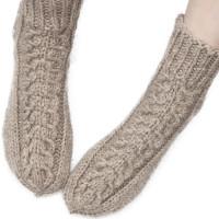 Носки с косами, овечья шерсть натуральная серая, ручная работа