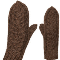 Комплект носки и варежки с косами, овечья шерсть натуральная темная