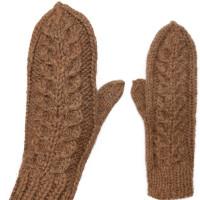 Комплект носки и варежки с косами, верблюжья шерсть натуральная темная