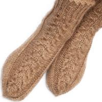 Комплект носки и варежки с косами, верблюжья шерсть натуральная светлая