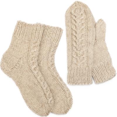 Комплект носки и варежки с косами, овечья шерсть натуральная светлая