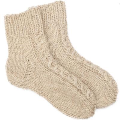 Носки с косами, овечья шерсть натуральная светлая, ручная работа