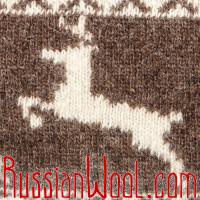 Шапка с отворотом, с оленями, коричневая, Монголия