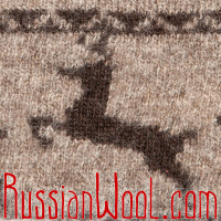 Шапка с отворотом, с оленями, бежевая, Монголия