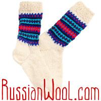 Носки Пастушьи Веселые шерстяные вязаные сине-полосатые