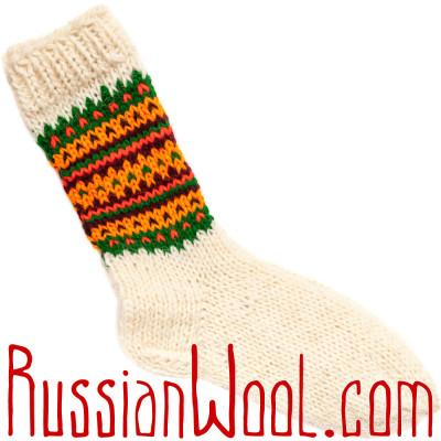 Носки Пастушьи Веселые шерстяные вязаные оранжево-полосатые
