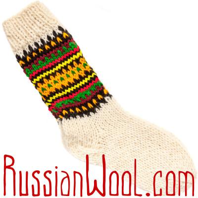 Носки Пастушьи Веселые шерстяные вязаные полосатые