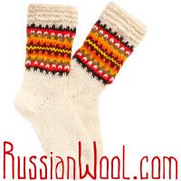 Носки Пастушьи Веселые шерстяные вязаные красно-полосатые