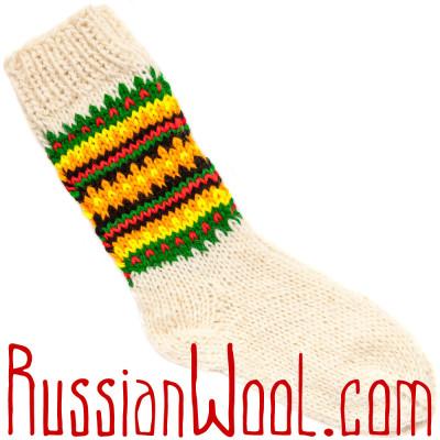 Носки Пастушьи Веселые шерстяные вязаные желто-полосатые