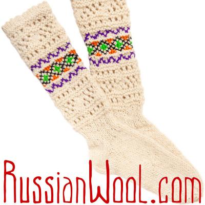 Гольфы Пастушьи Ажурные шерстяные белые с зелено-фиолетовой вышивкой