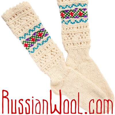 Гольфы Пастушьи Ажурные шерстяные белые с красно-голубой вышивкой