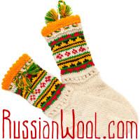 Носки Пастушьи Нарядные шерстяные с зелено-желточными кисточками