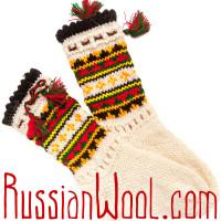 Носки Пастушьи Нарядные шерстяные с красно-черными кисточками