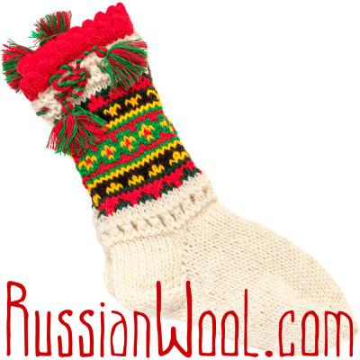 Носки Пастушьи Нарядные шерстяные с зелено-красными кисточками