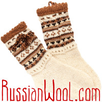 Носки Пастушьи Нарядные шерстяные с черно-коричневыми кисточками