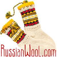 Носки Пастушьи Нарядные шерстяные с черно-желтыми кисточками