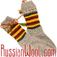 Носки Пастушьи Нарядные шерстяные серые с кисточками