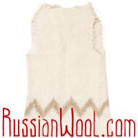 Жилет Суконный из натуральной шерсти удлиненный Зигзаг Беж