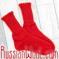 Носки красные шерстяные мягкие