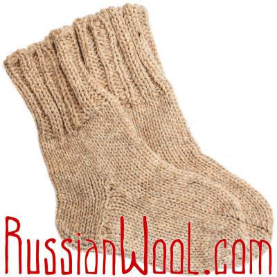 Носки ЧШ ручной вязки женские песочного цвета