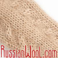 Носки Лада с косами, мохер, песочные