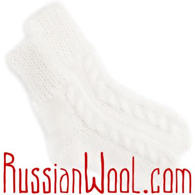 Носки Лада с косами, мохер, белые