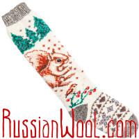 Высокие шерстяные носки со снегирями