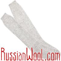 Комплект Коза Элеганс серебристый: пуховые гольфы и перчатки для женщин
