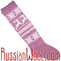 Высокие шерстяные гольфы с оленями и звездами, лилово-розовые