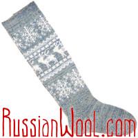 Высокие шерстяные гольфы с оленями и снежинками, серо-голубые