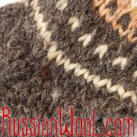 Гольфы Пастушьи чистошерстяные крупной вязки коричневые