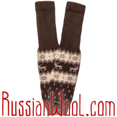 Гетры из монгольского пуха, шоколадные