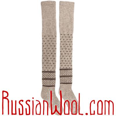 Чулки из монгольского пуха, серые с галочками