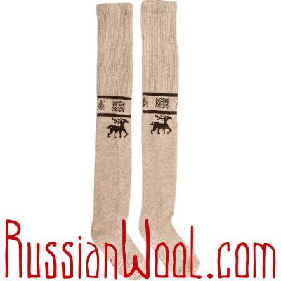 Чулки из монгольского пуха, золотисто-бежевые