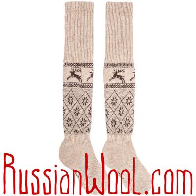 Гольфины из монгольского пуха, золотистые с узором