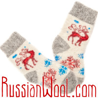 Детские носки Олень из сказки, шерсть с пухом