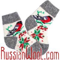 Детские носки со снегирями, серо-белые