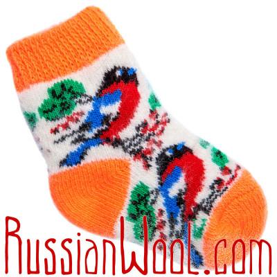 Детские носки со снегирями, оранжево-белые