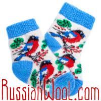 Детские носки со снегирями, голубо-белые
