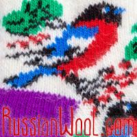 Детские носки со снегирями, сиренево-белые