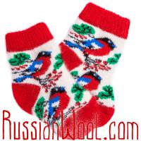 Детские носки со снегирями, красно-белые