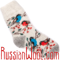 Носки Снегири-Сойки пуховые белые женские