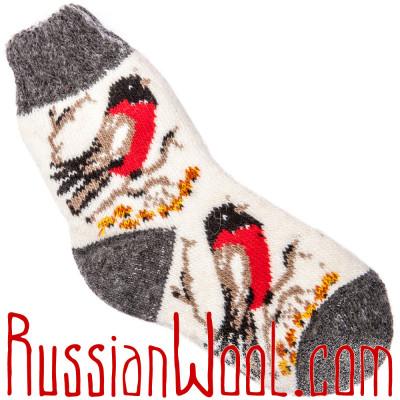 Носки со снегирями детские на 5..7 лет